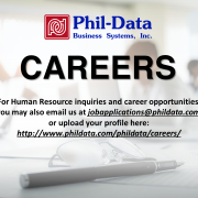 For Human Resource inquiries and career opportunities, you may also email us atjobapplications@phildata.com or upload your profile here: http://www.phildata.com/phildata/careers/