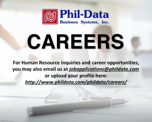 For Human Resource inquiries and career opportunities, you may also email us at jobapplications@phildata.com  or upload your profile here: http://www.phildata.com/phildata/careers/